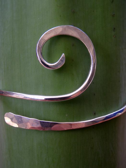 Hand Hammered Sterling Silver Wave Bracelet