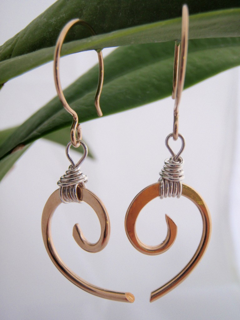 Gold with Sterling Wrap Wave Earrings