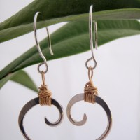 Sterling Silver with Gold Wrap Wave Earrings