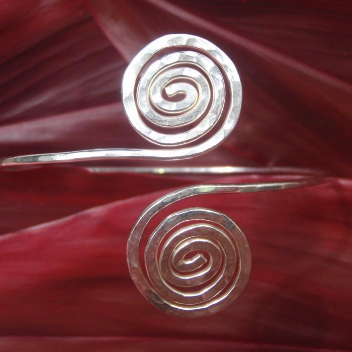 Hand Hammered Sterling Silver Spiral Bracelet