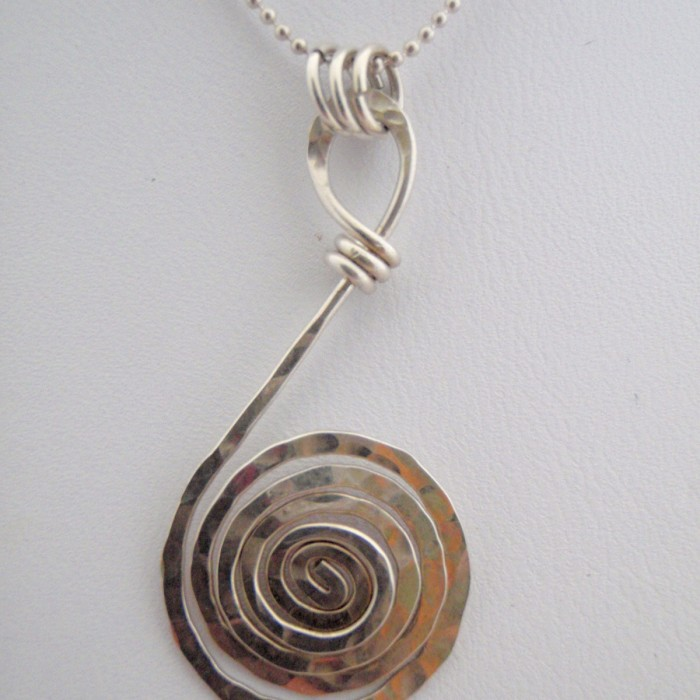 Hand Hammered Sterling SIlver Spiral Necklace.