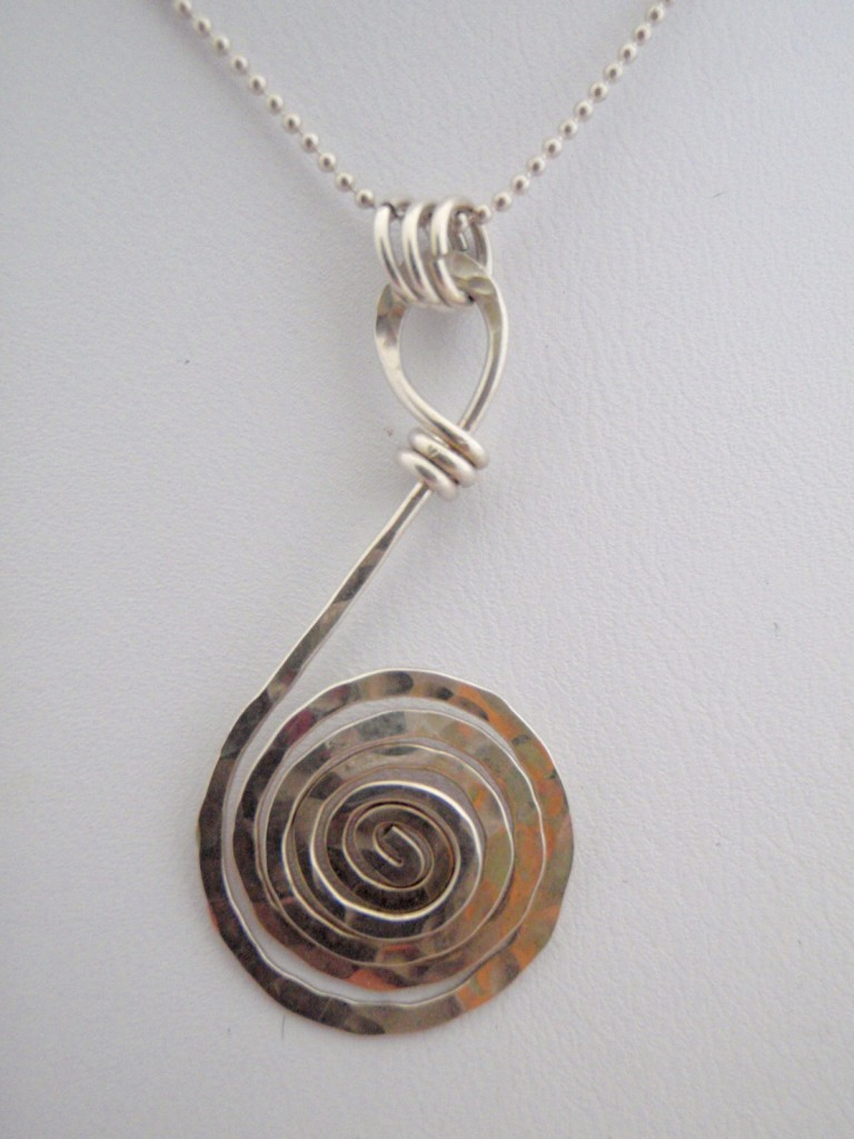 Hand Hammered Sterling SIlver Spiral Necklace.