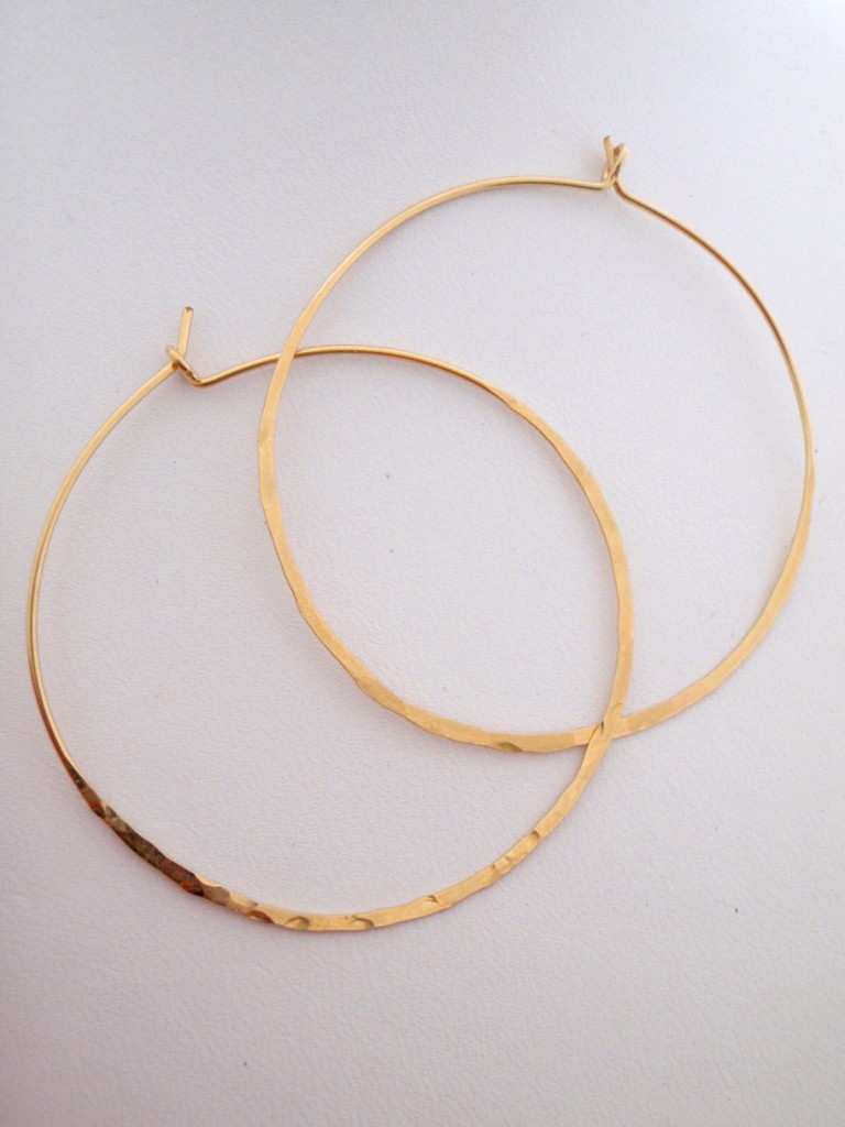 Hand Hammered 14 Karat GF Large Hoops