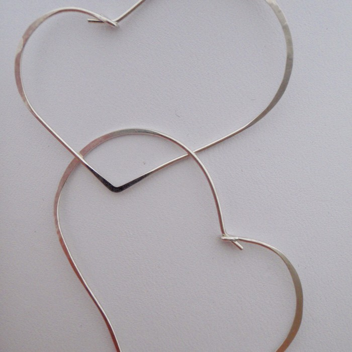 Hand Hammered Sterling Silver Asymmetrical Heart Earrings