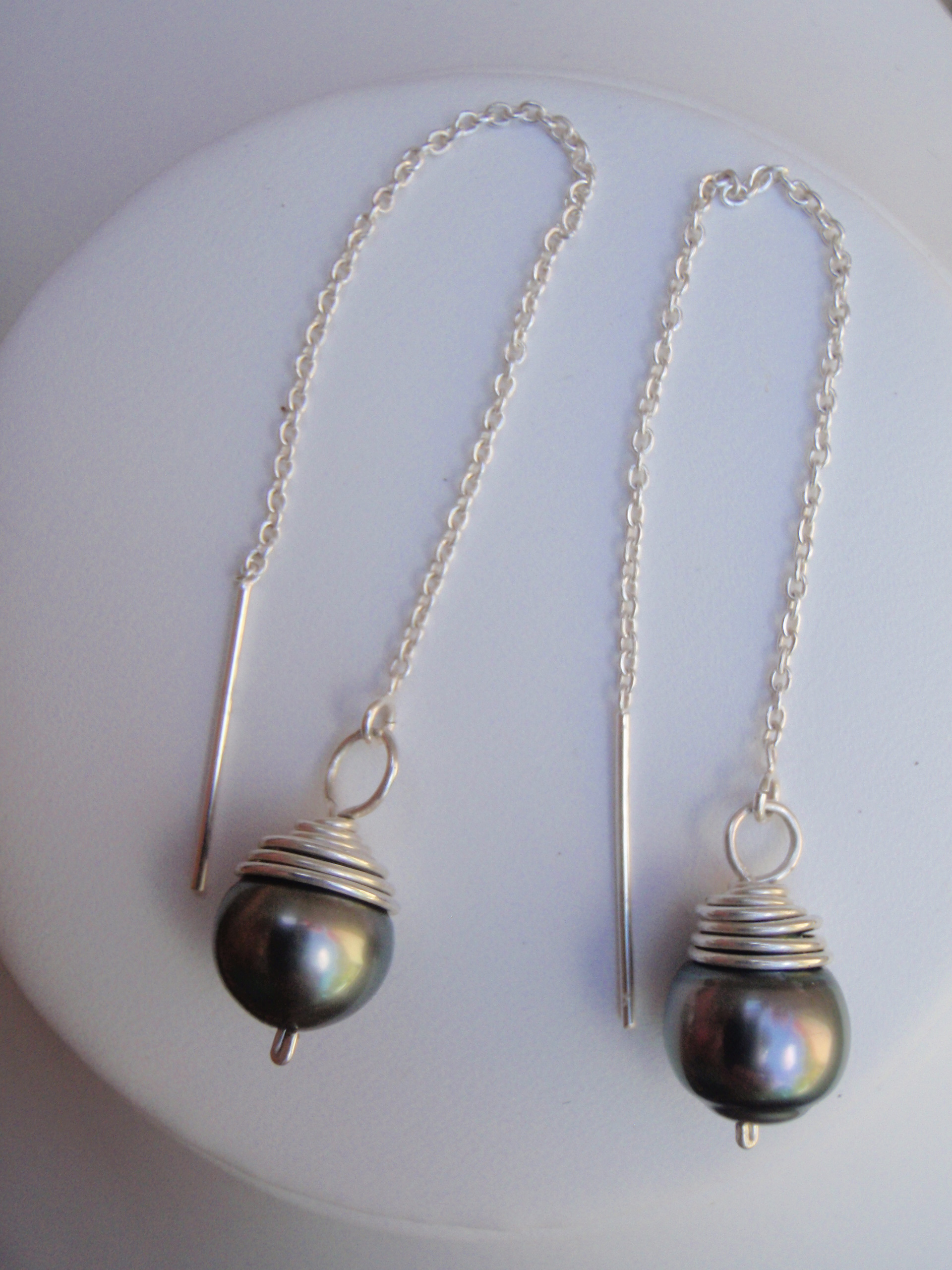 Silver Threader Tahitian Pearl Earrings Hawaii Jewel By