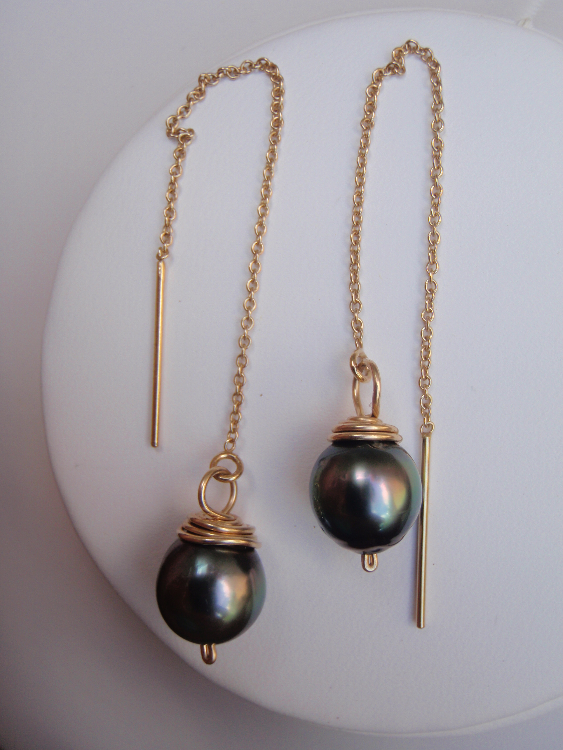 Gold Threader Tahitian Pearl Earrings Hawaii Jewel By