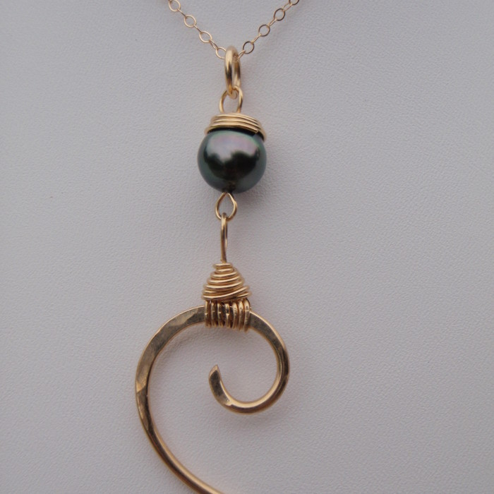 Solid 14K Wave and Tahitian Pearl Necklace